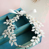 Bohemian Vintage White Leaf Crystal and Pearl Headband with Ribbon