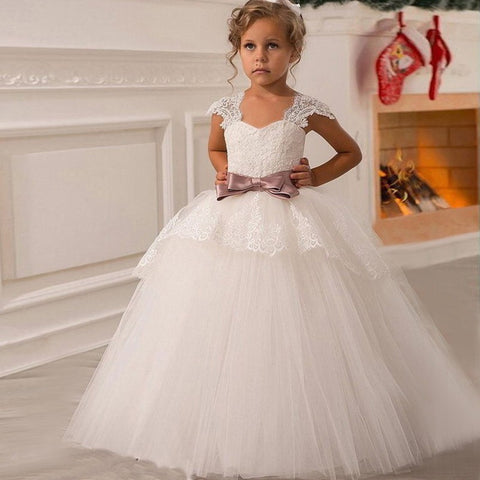 Jennifer Classic Tulle Flower Girl Dress with Capped Sleeves