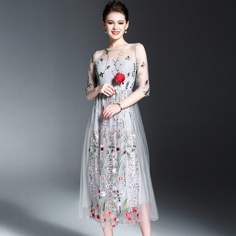 Kelly - Blue Embroidered Floral Long Cocktail Dress
