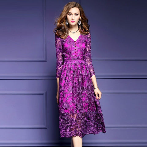 Penelope - Magenta Purple Long Sleeved Embroidered Cocktail Dress