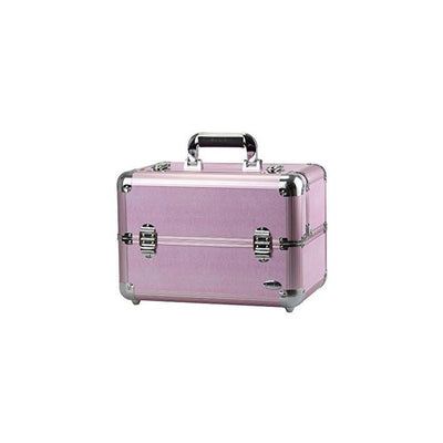 Makeup Case Aluminum / Pink Glitter / Black Diamonds