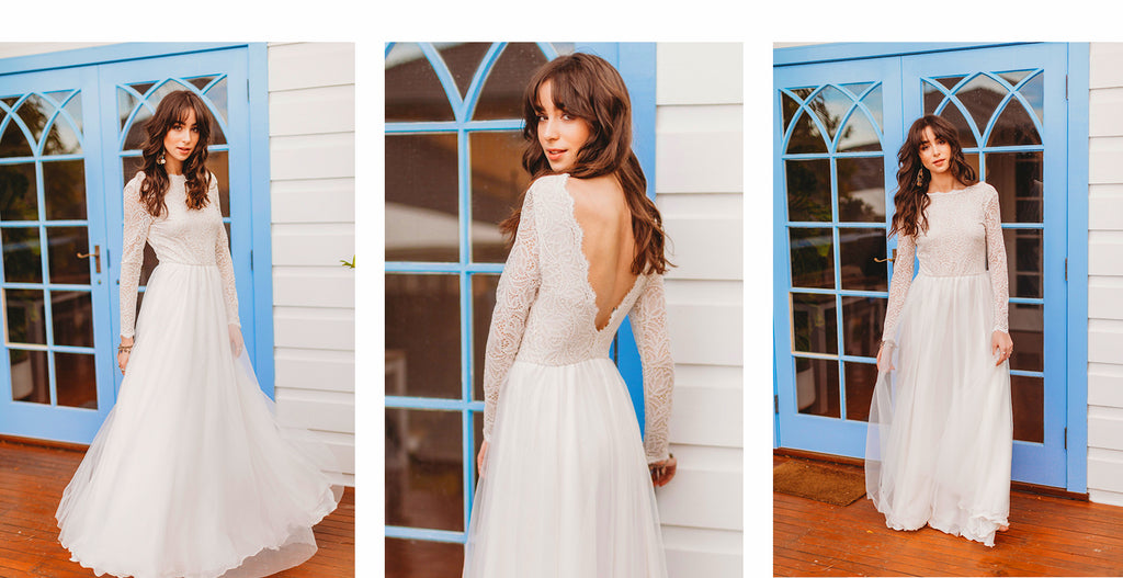 Skye Open Back Lace Boho Wedding Dress