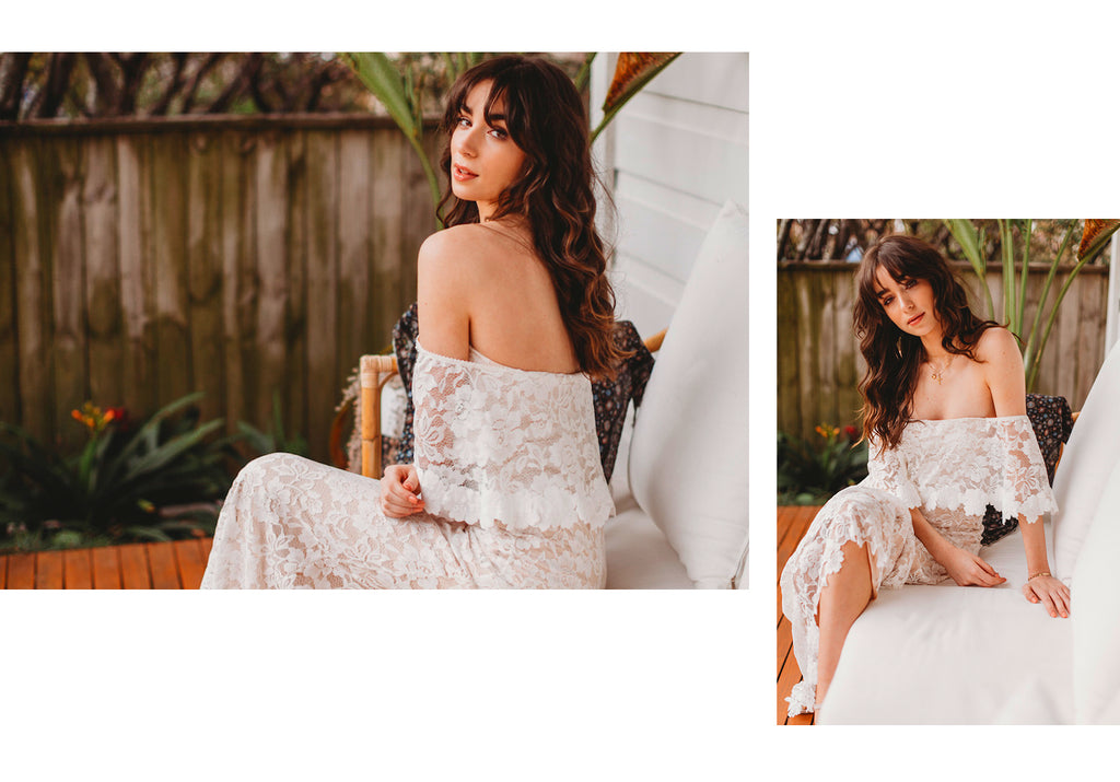 Willow Off Shoulder Lace Boho Wedding Dress