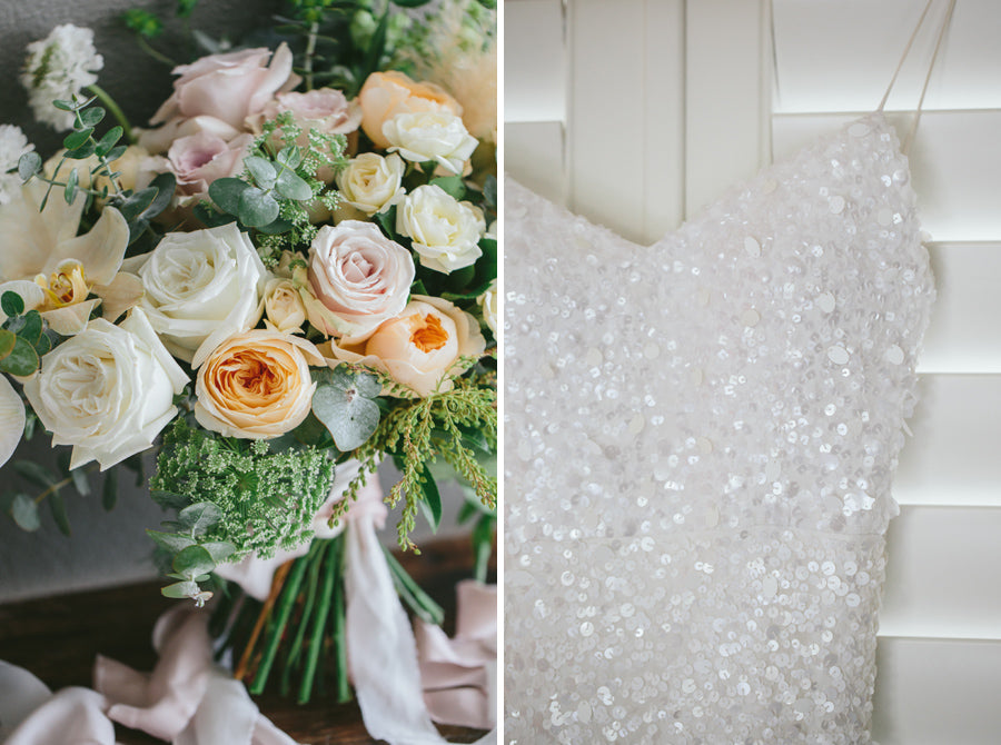 Cream bouquet sequin gown