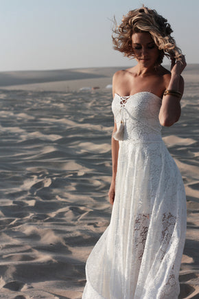 The Johanna Wedding Dress three quarter front on in dunes