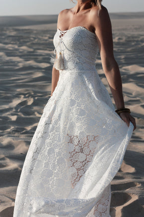 The Johanna Wedding Dress cropped front left in dunes