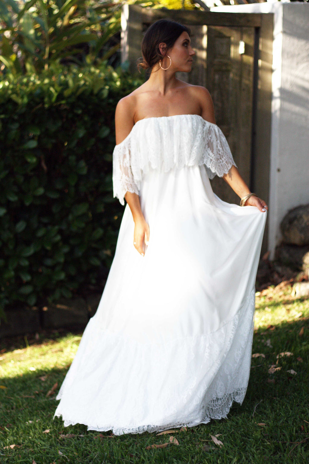 CLAUDINE Off Shoulder Lace and Silk Boho Wedding Dress