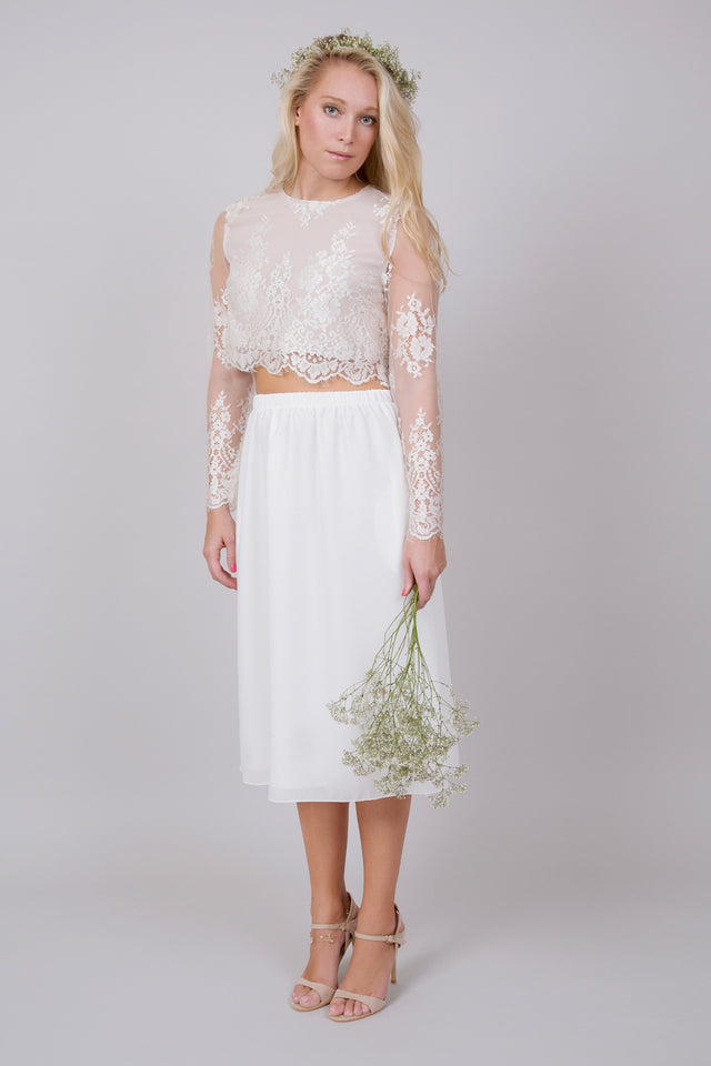 Jessa Midi Set Wedding Dress Three Quarter View
