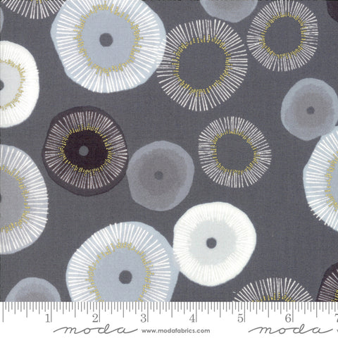 Day In Paris - Zen Chic - Metallic - Blooming - Graphite - 1680-12M - Fabric is sold in 1/2 yard increments