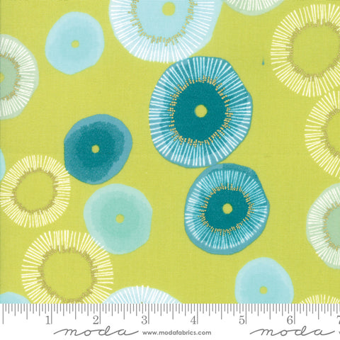 Day In Paris - Zen Chic - Metallic Blooming - Chartreuse - 1680-15M - Fabric is sold in 1/2 yard increments