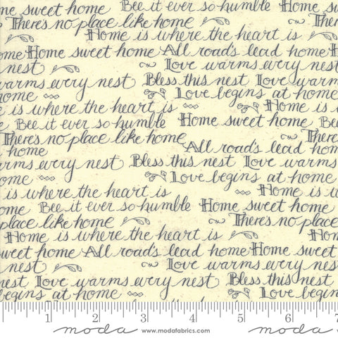 Home - Kathy Schmitz - Script - Cream - 7011-13 - Fabric is sold in 1/2 yard increments