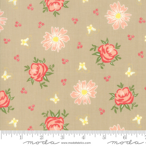 Harpers Garden - Sherri & Chelsi - Roses - Taupe - 37570-12 - Fabric is sold in 1/2 yard increments
