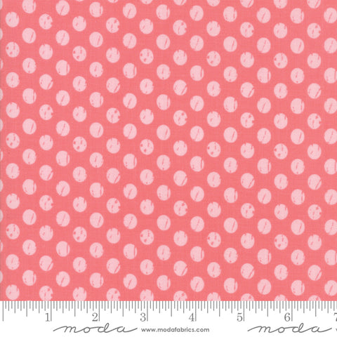 Lollipop Garden - Lella Boutique - Whitewashed Dots - Raspberry - 5085-13 - Fabric is sold in 1/2 yard increments