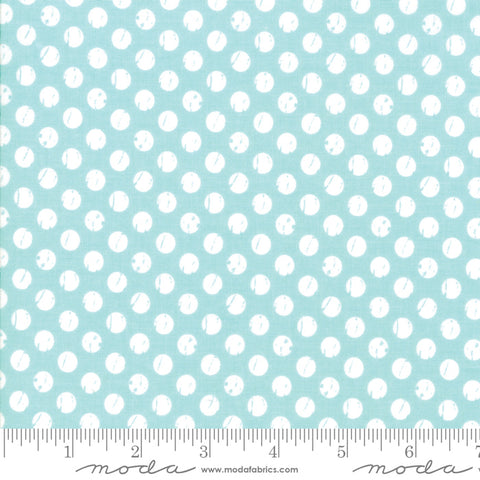 Lollipop Garden - Lella Boutique - Whitewashed Dots - Sky - 5085-15 - Fabric is sold in 1/2 yard increments