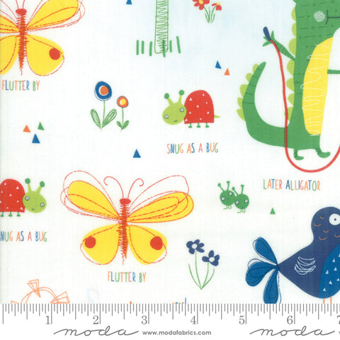 Later Alligator - Sandy Gervais - Buddies - Cloud - 17980-11 - Fabric is sold in 1/2 yard increments