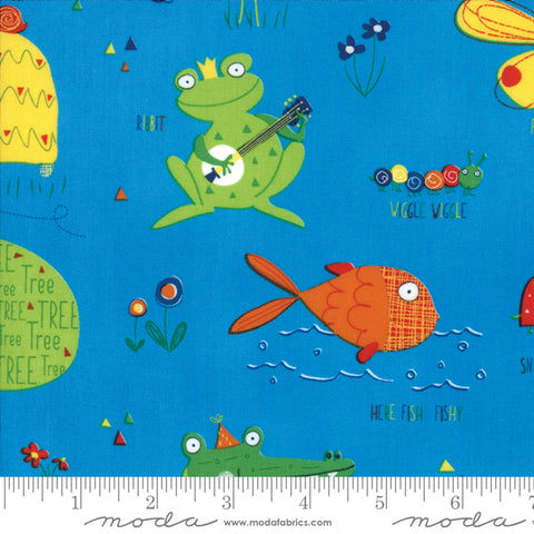 Later Alligator - Sandy Gervais - Buddies - Blue Sky - 17980-17 - Fabric is sold in 1/2 yard increments