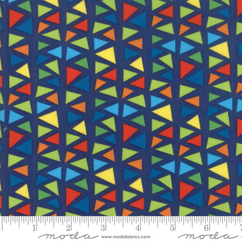 Later Alligator - Sandy Gervais - Triangles - Navy - 17984-19 - Fabric is sold in 1/2 yard increments