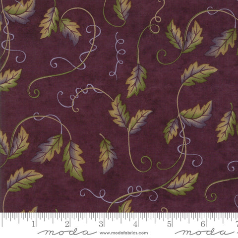 Fresh Off The Vine - Holly Taylor - Leaves and Vines - Eggplant - 6764-12 - Fabric is sold in 1/2 yard increments