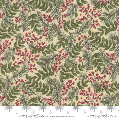 Winter Manor - Holly Taylor - Winter Greens - Buff - 6772-12 - Fabric is sold in 1/2 yard increments