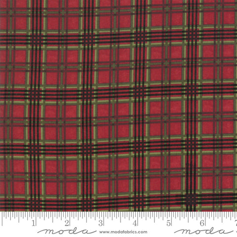 Winter Manor - Holly Taylor - Plaid - Cardinal - 6776-15 - Fabric is sold in 1/2 yard increments