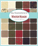 Winter Manor - Holly Taylor - Mini Pine - Cardinal - 6773-15 - Fabric is sold in 1/2 yard increments