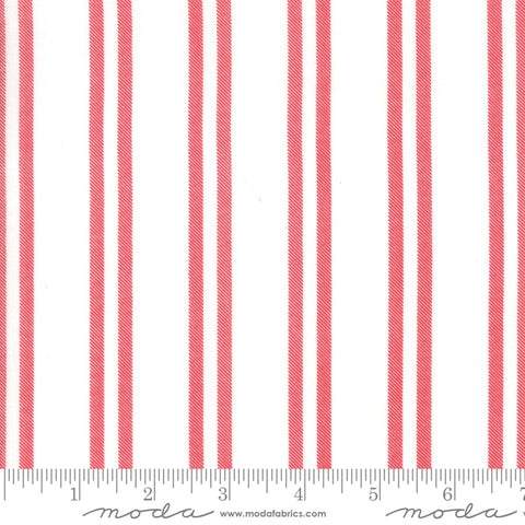 Little Tree - Lella Boutique - Farmhouse Stripe - Snow Cranberry - 5096-21 - Fabric is sold in 1/2 yard increments