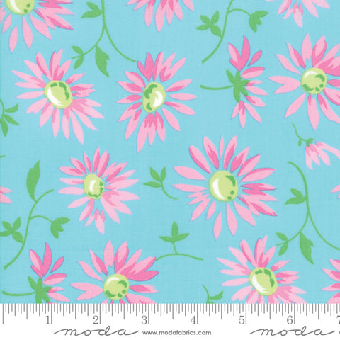 Good Day - Me and My Sister - Lazy Daisies - Turqoise - 22371-12 - Fabric is sold in 1/2 yard increments