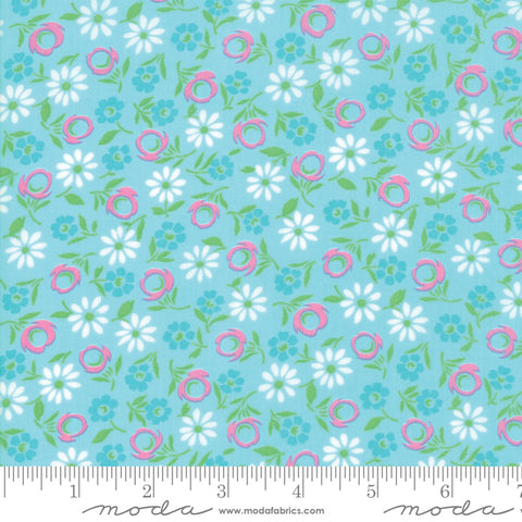 Good Day - Me and My Sister - Bursting Blooms - Turquoise - 22372-12 - Fabric is sold in 1/2 yard increments