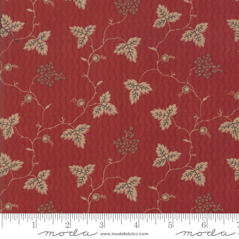 Shelbyville - Jo Morton - Brick Red - Leaf and Daisy - 38070-14 - Fabric is sold in 1/2 yard increments