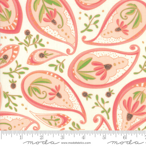 Painted Meadow - Robin Pickens - Paisley - Pink - Petal - 48661-15 - Fabric is sold in 1/2 yard increments