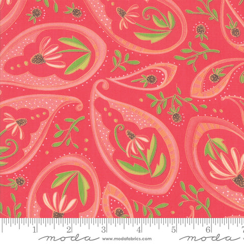 Painted Meadow - Robin Pickens - Paisley - Pink - Passion - 48661-18 - Fabric is sold in 1/2 yard increments
