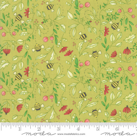 Painted Meadow - Robin Pickens - Simple Drawings - Sprig - Green - 48662-13 - Fabric is sold in 1/2 yard increments