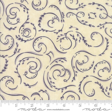 Fresh Off The Vine - Holly Taylor - Swirls - Eggplant on Bone - 6763-21 - Fabric is sold in 1/2 yard increments