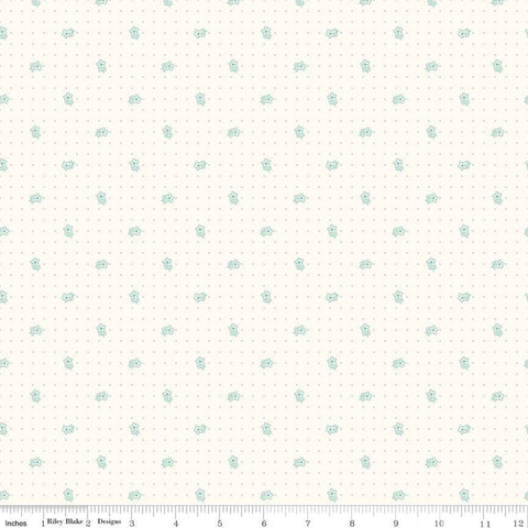 Bee Background - Lori Holt - Daisy - C6380-Teal - Fabric is sold in 1/2 yard increments