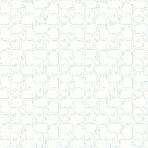 Bee Backgrounds - Lori Holt - Cannin Jar - C6385-Aqua - Fabric is sold in 1/2 yard increments