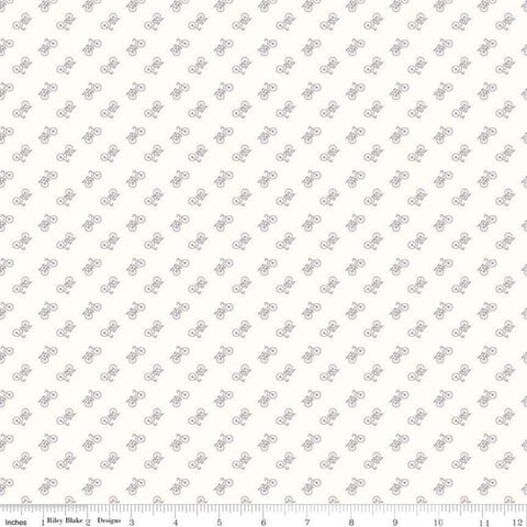 Bee Background - Lori Holt - Bicycle - C6389-Gray - Fabric is sold in 1/2 yard increments