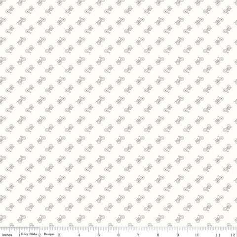 Bee Backgrounds - Lori Holt - Bicycle - C6389-Gray - Fabric is sold in 1/2 yard increments