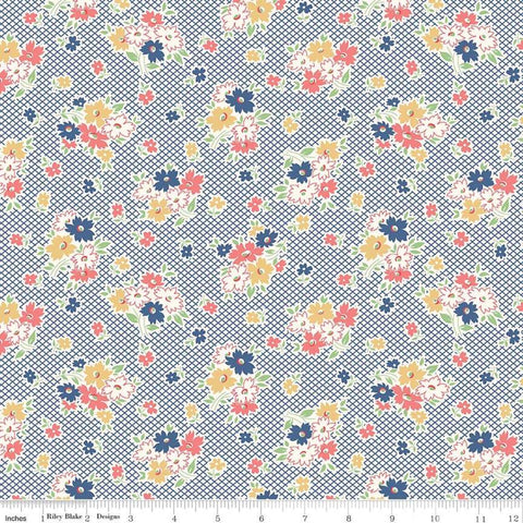 Farm Girl Vintage - Lori Holt - Main - Denim - C7870-Denim - Fabric is sold in 1/2 yard increments