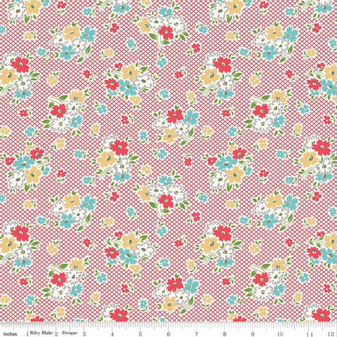 Farm Girl Vintage - Lori Holt - Main Print -C7870-Red - Fabric is sold in 1/2 yard increments.