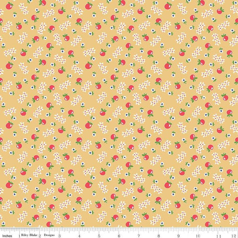 Farm Girl Vintage - Lori Holt - Apple - C7873-HONEY - Fabric is sold in 1/2 yard increments