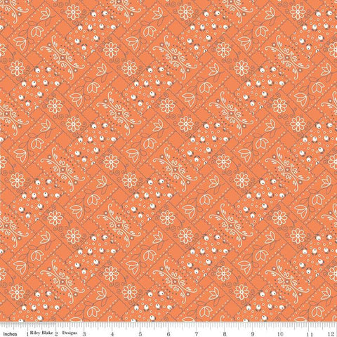 Farm Girl Vintage - Lori Holt - Bandana - C7874-Orange - Fabric is sold in 1/2 yard increments