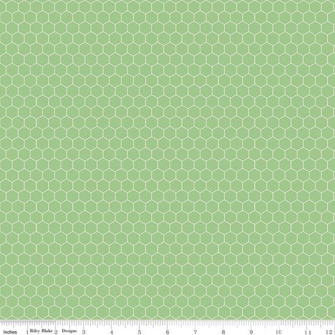 Farm Girl Vintage Companion - Lori Holt - Honeycomb - Riley Green - C8742-Riley Green - Fabric is sold in 1/2 yard increments