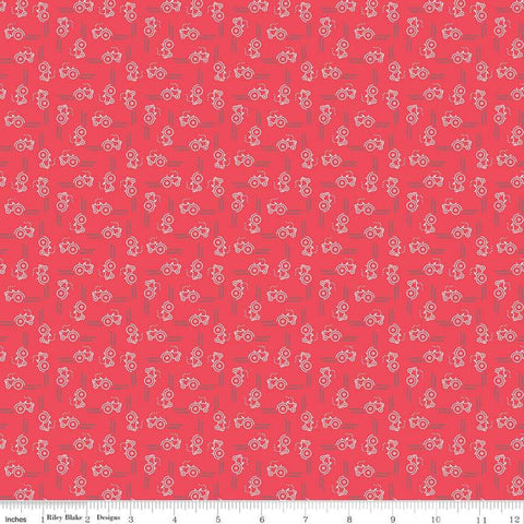 Farm Girl Vintage Companion - Lori Holt - Tractor - Cayenne - C8743-Cayenne - Fabric is sold in 1/2 yard increments
