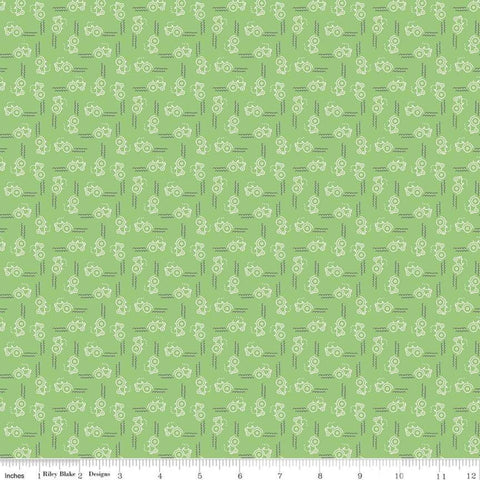 Farm Girl Vintage Companion Prints - Lori Holt - Tractor - Riley Green - C8743-Riley Green - Fabric is sold in 1/2 yard increments