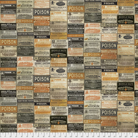 Materialize - Tim Holtz - Apothecary Halloween - PWTH072-8MULT - Fabric is sold in 1/2 yard increments