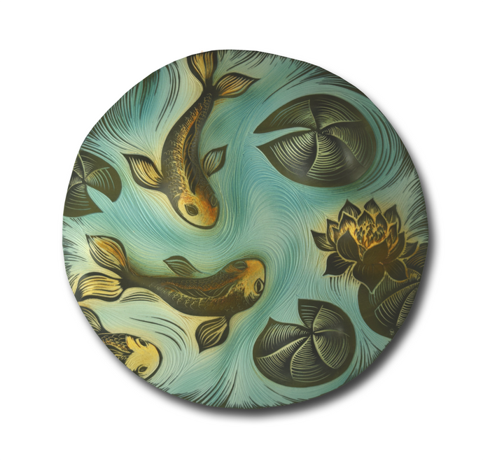 Koi & Lily Pad Sgraffito Carved Disc product_type Natalie Blake
