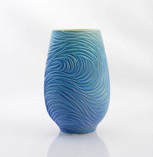 Feather Rain Open Vessel, Blues, Violets, and Greens product_type Natalie Blake Studio Shop