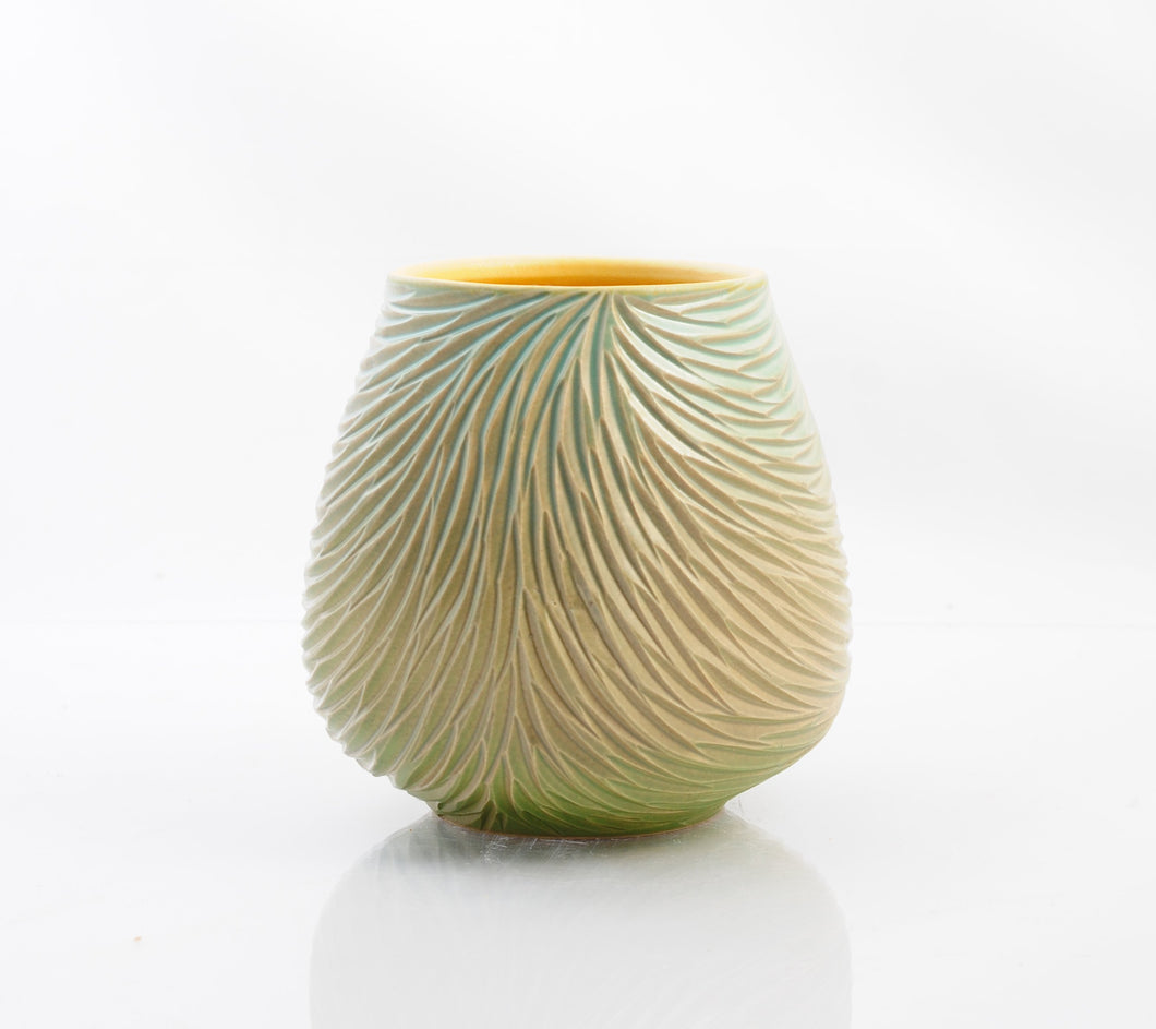 Feather Rain Open Vessel, Greens and Neutrals product_type Natalie Blake Studio Shop