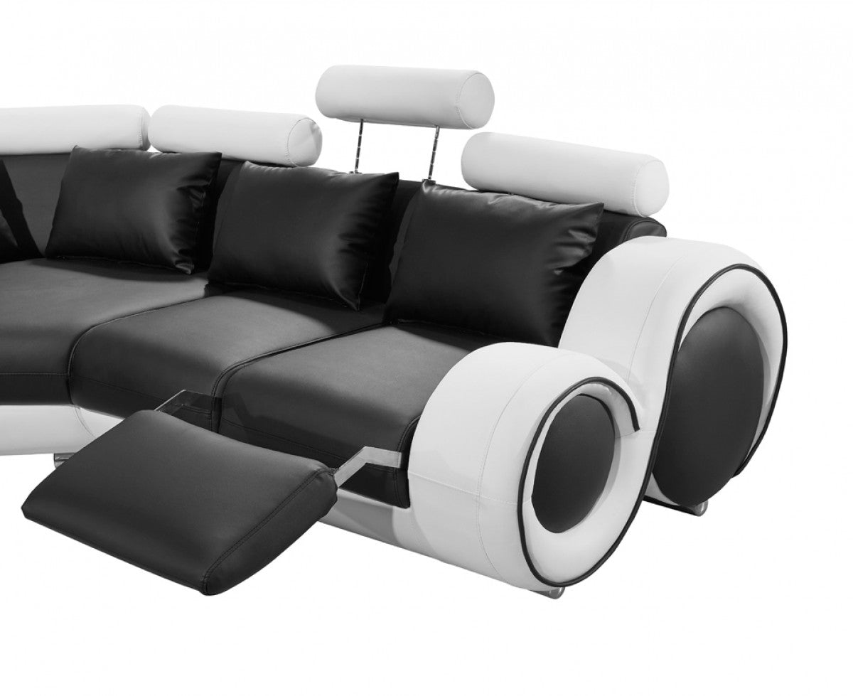 Divani Casa 4087 Modern Black And White Bonded Leather Sectional  ~ Modern Black Sectional Sofa