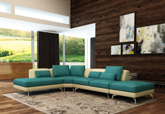 Divani Casa 5111 Modern Blue & Beige Fabric & Leather Sectional Sofa VIEW AVAILABLE SPECIAL ORDER COLORS